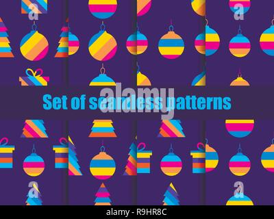 Christmas set of seamless pattern with colored Christmas balls. Greeting card with hanging striped balls. Vector illustration - Stock Photo