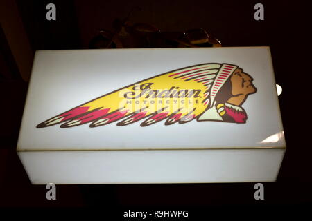 Indian Motorcycle light signal in a bar. - Stock Photo