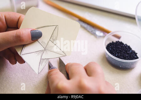 Creativity, imagination, inspiration and concept - close up of female hands drawing with pencil - Stock Photo