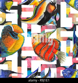 Watercolor aquatic underwater colorful tropical fish illustration set. Seamless background pattern. - Stock Photo