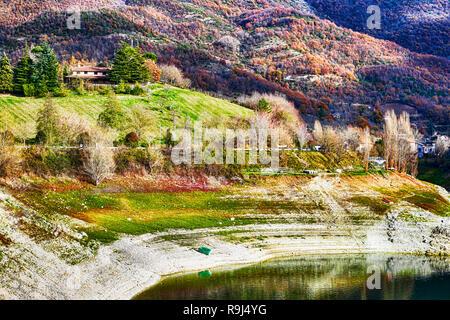Hilly landscape on the Turano lake - Lazio - Italy - Stock Photo