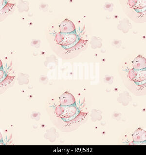 A watercolor spring illustration of the cute easter baby bird and eggs. Egg cartoon animal seamless pink pattern - Stock Photo