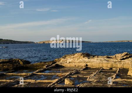 Salinas Salt extraction pans - salt works in st. paul, Malta - Stock Photo