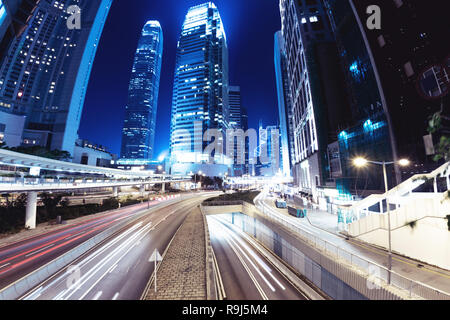 Night street at Hong Kong city. Business abstract - Stock Photo