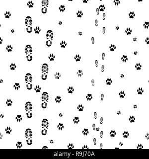 bb5e431deb8f Black prints of human feet and dog paws seamless Stock Vector Art ...