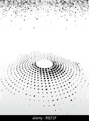 Abstract business background of black dots halftone top and 3D circular halftone design circle of black dots on a circle - Stock Photo
