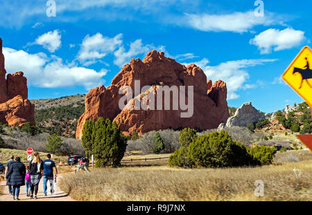 COLORADO SPRINGS,AMERICA - NOVEMBER 04, 2017:A panorama of Garden of the Gods in Colorado Springs,America. - Stock Photo