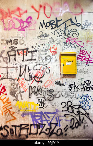 Mail box on the wall filled with graffiti, Belgrade, Serbia - Stock Photo