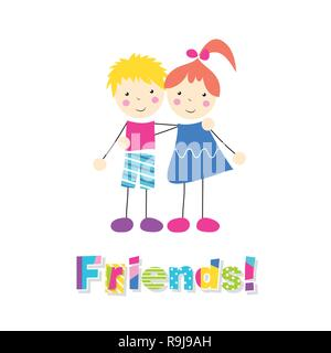 little red haired girl in a blue dress and blonde boy in pink and blue outfit holding arms around each other with letters friends on white background - Stock Photo