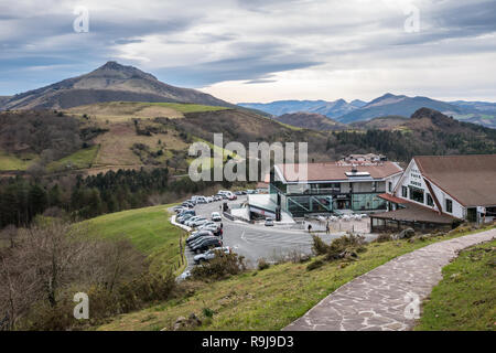 View over the parking lots and shopping malls at Collado de Ibardin/Col d'Ibardin, Navarre, Spain - Stock Photo