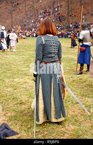 SAMOBOR, CROATIA - MARCH 7, 2010: Lady with two swords, Staging of a medieval battle at Samobor on March 1, 1441, Croatia - Stock Photo