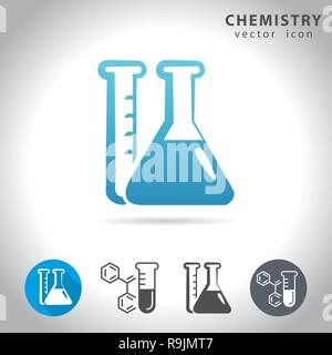 Chemistry icon set, collection of chemical tube icons, vector illustration - Stock Photo