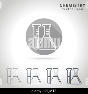 Chemistry outline icon set, collection of chemical tube icons, vector illustration - Stock Photo