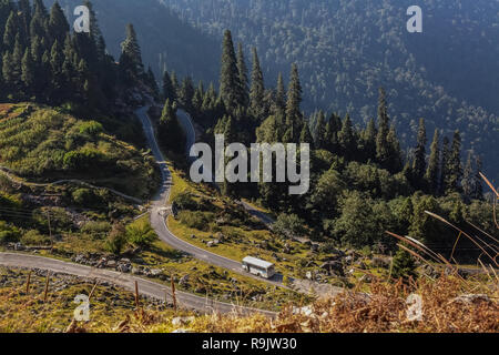Scenic high altitude mountain road aerial view in the Himalayan region of Almora Uttarakhand India. - Stock Photo