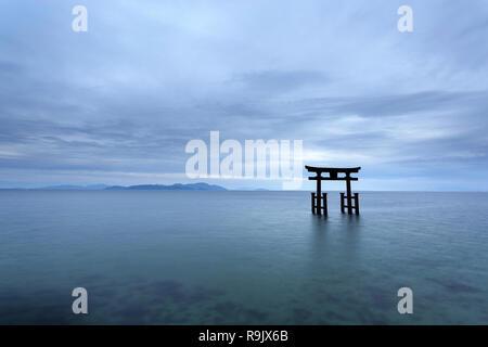 Shirahige Jinja Torii on water, lake Biwa near Kyoto, Japan
