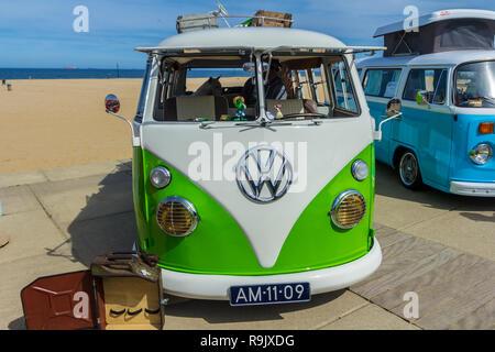 Scheveningen The Hague, the Netherlands - May 21 2017: VW kombi van at the beach - Stock Photo