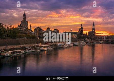 Dresden skyline at sunset. - Stock Photo