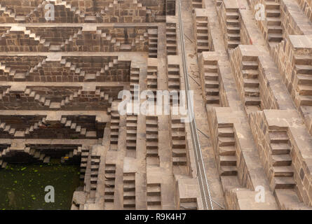 Chand Baori stepwell situated in the village of Abhaneri near Jaipur India. - Stock Photo