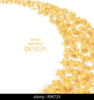 The falling stars with a shadow. Abstract background of a star wave. Incidentally falling gold tinsel. Paper brilliant, golden elements of design. A t - Stock Photo