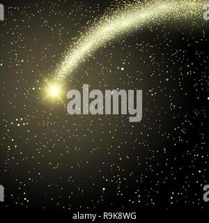 Falling comet on the background of the star sky. Bright stars, flash in a dark chasm. Astrology. Magic subject. Design element. Abstract background. V - Stock Photo