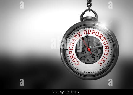 Pocket Watch with Corporate Opportunities Text on the Face. Business Concept: Corporate Opportunities on Vintage Watch Face with Close View of Watch M - Stock Photo