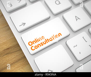 Service Concept: Online Consultation on the Aluminum Keyboard lying on the Wood Background. Modern Laptop Keyboard Button Showing the MessageOnline Co - Stock Photo