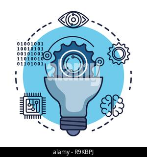 bulb with artificial intelligence icons Stock Photo