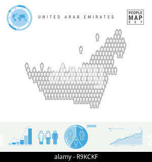 United Arab Emirates People Icon Map. People Crowd in the Shape of a Map of UAE. Stylized Silhouette of UAE. Population Growth and Aging Infographic E - Stock Photo