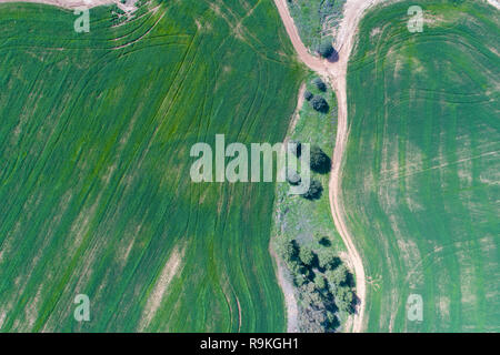 Aerial view of farmland and nature in central Israel along the Yarkon stream. Photographed in winter in February - Stock Photo