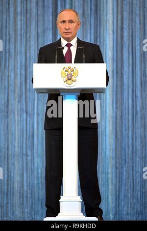 Russian President Vladimir Putin delivers an address to employees of State Security Agencies during State Security Agency Employee Day December 20, 2018 in Moscow, Russia. - Stock Photo