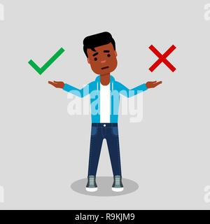 Right or wrong choice. Young African American in jeans and sweatshirt, making decision between right and wrong. Making choice, difficult decision - Stock Photo