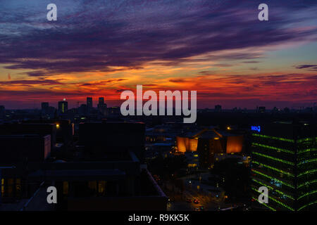 BERLIN, GERMANY - OCTOBER 8, 2018: Spectacular sunset seen from Potsdamer Platz in Berlin, Germany on October 8, 2018. - Stock Photo