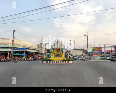 Photo of A big portrait of Thailand king Rama 10 as was placed at the traffic circle in the Paknampran market, Hua Hin; Thailand December 22, 2018 - Stock Photo