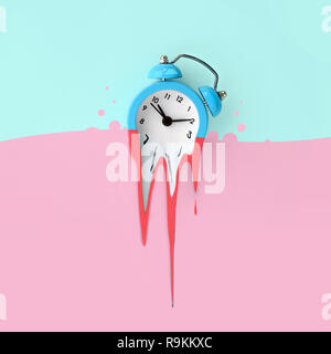 Time is running out concept shows alarm clock that is dissolving down by melting in pastel pink liquid substance . Surreal style image - Stock Photo