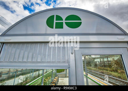 Toronto, Canada-20 November, 2018: Go Train Stations, a regional public transit system serving the Greater Golden Horseshoe region of Ontario - Stock Photo