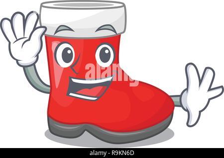 Waving christmas santa boot isolated on mascot - Stock Photo