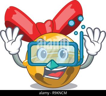 Diving christmas decoration in bell balls cartoon - Stock Photo