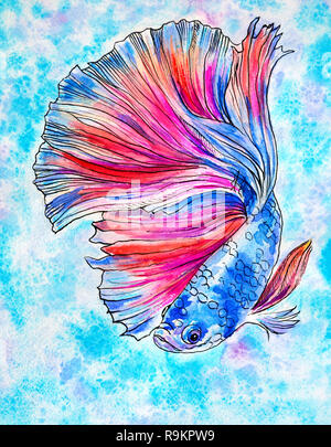 Blue colored magic fish swims on a turquoise background. Illustration drawn in watercolor and ink - Stock Photo