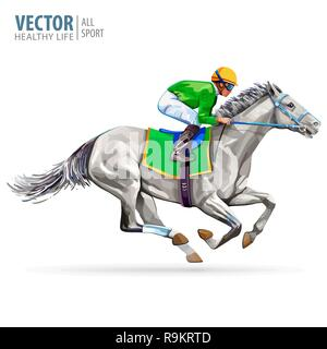 Jockey on racing horse. Champion. Hippodrome. Racetrack. Jump racetrack. Horse riding. Vector illustration. Derby. Isolated on white background. - Stock Photo