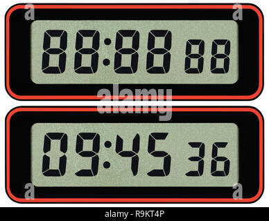 Digital lcd stopwatch timer typeface template, isolated seven segment black arabic numerals, binary digit countdown concept, electronic alarm watch - Stock Photo