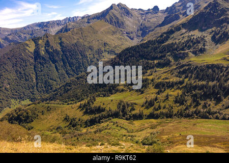 Landscape, view of the slopes and mountains around the ski resort Guzet-snow in summer. Couserans-Pyrenees, Ustou Valley, Ariège, Occitanie, France. - Stock Photo