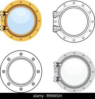 Porthole in flat style. Vector set illustration isolated on white - Stock Photo