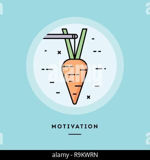 Motivation, flat design thin line banner. Vector illustration. - Stock Photo