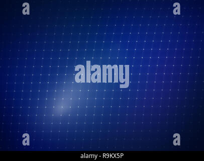 Grid of connecting white lines and dots fading out on the dark corners, soft and blurred blue gradient background. - Stock Photo