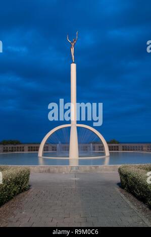 The Gilray Fountain, better known as the Spirit of Napier, along Marine Parade in Napier, New Zealand. - Stock Photo