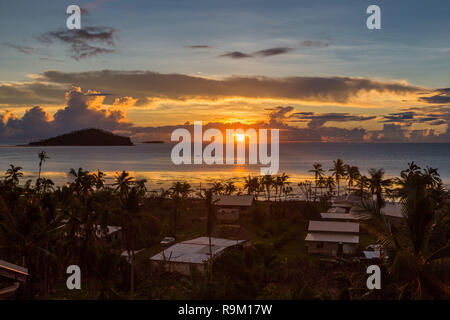 Early morning and sunrise over Pacific Ocean in Mata-Utu village, the capital of Wallis and Futuna territory (Wallis-et-Futuna), Polynesia, Oceania. - Stock Photo
