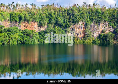 Spectacular volcanic crater lake Lalolalo in the island of Uvea (Wallis), Wallis and Futuna (Wallis-et-Futuna), Polynesia, Oceania, South Pacific. - Stock Photo