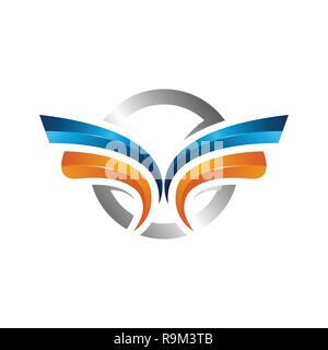 strong wings abstract bold color logo , Winged logo company and icon wing flying, eagle wing brand and logotype wing bird illustration, colorful wings - Stock Photo