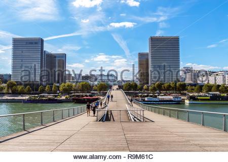 Simone de Beauvoir footbridge - Paris - Stock Photo