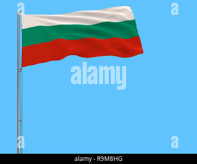 Flag of Bulgaria on the flagpole fluttering in the wind on pure blue background, 3d rendering - Stock Photo